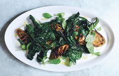 Grilled eggplant and greens