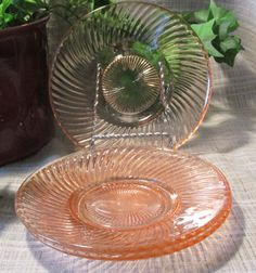 set of 3 Vintage Pink Depression Glass Federal by ClassicMontage