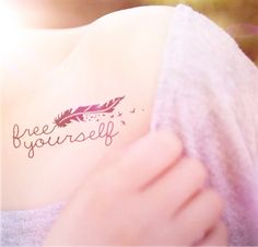 2pcs Free Yourself feather bird tattoo  InknArt by InknArt on Etsy, $3.99
