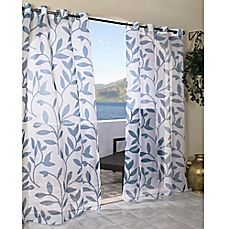 image of Commonwealth Home Fashions Escape Grommet Top Sheer Leaf Print Window Curtain Panel