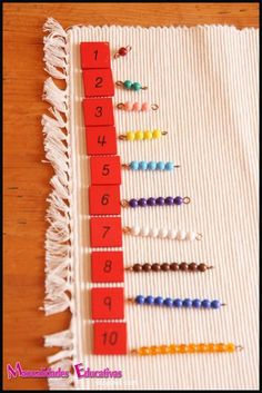Manualidades Educativas: Relación cantidad-número con perlas Montessori