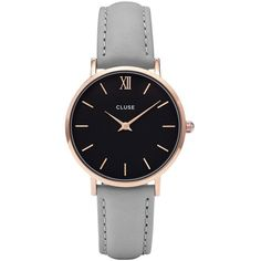 Cluse Minuit Black Dial Ladies Casual Leather Watch ($99) ❤ liked on Polyvore featuring jewelry, watches, leather watches, black dial watches, analog wrist watch, water resistant watches and leather crown