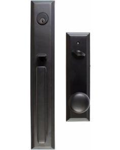 Emtek Emtek 4212US19 Flat Black Single Cylinder Emtek 4212 Melrose ...