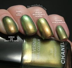 Comparison: Catrice – 840 Genius In The Bottle, Chanel – 531 Peridot, Douglas Absolute Nails – Fireworks and Sephora – Diving In Malaysia