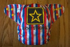 Patriotic Army Strong Diaper One Size Cloth Pocket by BuzzyBooty