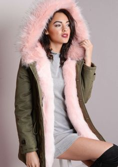 c7dcec6f1f0750 Pink Faux Fur Hooded Full Padded Parka Coat Khaki Green ..I want this, but  I cannot justify in any way, shape or form why !