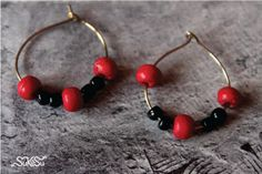 Rings - Earings - black and Red - woo... for pretty and trendy mix and match
