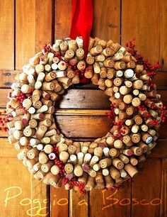 Christmas wreath with corks