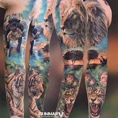 In awe tattoos i like tattoos, animal sleeve tattoo и jungle Animal Sleeve Tattoo, Full Sleeve Tattoos, Sleeve Tattoos For Women, Tattoo Sleeve Designs, Animal Tattoos, Full Body Tattoo, Body Art Tattoos, Tatoos, Trendy Tattoos