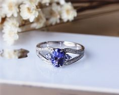Natural 6x8mm Oval Tanzanite Ring Solid 14K White Gold Tanzanite Engagement Ring Wedding Ring Anniversary Ring