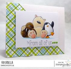 www.stampingbella.com: Rubber stamp used:THE WALRUS, THE POLAR BEAR and the PENGUIN, card created by FAYE WYNN JONES