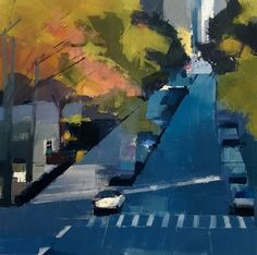 Lisa Breslow, Blue Street 2014, Oil and pencil on panel