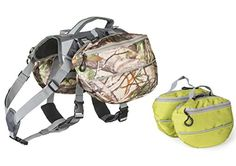 Dog Backpack for Hiking  Large and Small Saddlebag Sets for Camping or Hunting  Lightweight Harness  Removable Backpacks MediumLarge Dogs Camo and Green *** Read more  at the image link.