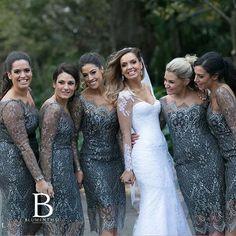We love these silver bridesmaid dresses. pic via @blumenthalphotography #silver #bridesmaiddresses #ladies #silverandwhite