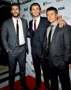 The Hemsworth brothers!! How do you get a family of three adorably handsome brothers!
