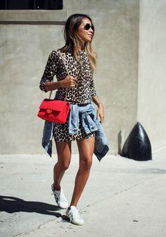 Leo Love – Sincerely Jules EQUIPMENT 'marta' leopard silk and cashmere dress  SAINT LAURENT classic court sneaker  LEVI'S 'boyfriend' denim jacket  CHANEL vintage bag