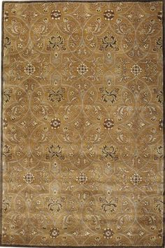 "Grimsby Area Rug. wool. 8'x11'  $799 + free shipping.  9'9""x13'9""  $1499 + free shipping.  Home decorators collection.  Also available at Home Depot - SHOWS much more YELLOW-GOLD on their website."