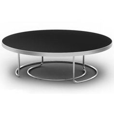 Contemporary Round Coffee Table Ibo Consists Of A Black Glass Top And A  Stylish Chromed Stainless Steel Base.