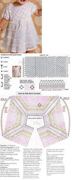 Vestido de crochê para meninas - Receita e gráfico   Tricô + Crochê