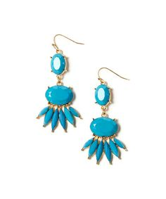 Gold & Teal Deco Drop Earrings by Khloe Collection #zulily #zulilyfinds
