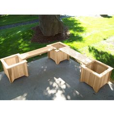 Three Planters and Two Bench Set