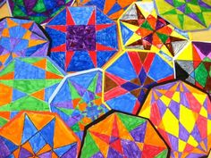 STEM - explore geometric designs with by connecting octagon points with a ruler. Colour your creation when you have as many lines as you want.