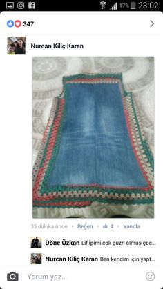 It is nice example to evaluate old jeans. Jean will be nice Cardigan with little knitting touch. Recycled Denim, Recycled Fabric, Crochet Cross, Knit Crochet, Crochet Designs, Crochet Patterns, Hippie Crochet, Jeans Rock, Old Jeans