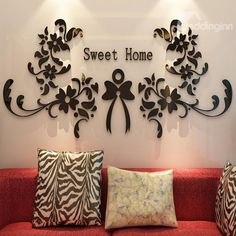 Modern Design Sweet Home Flowers Pattern Three-dimensional Wall Stickers Neutral Living Room Colors, Sweet Home, Home Flowers, 3d Wall, Wall Art, Stickers Online, Art Pages, Decoration, Three Dimensional