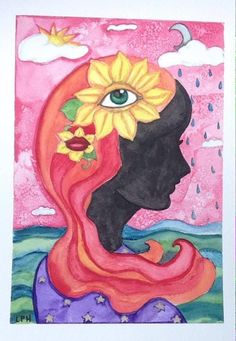 NFAC 9x12 Watercolor Girl sky ocean surrealism mixed media  #Surrealism