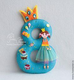Купить Цифра из фетра для Дня рождения - разноцветный, праздничная атрибутика, декор дня рождения