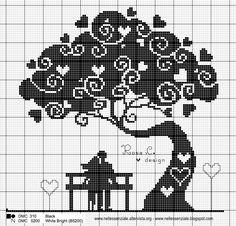 Schema punto croce: L'albero dei cuori #puntocroce #crossstitch #pattern @nellessenziale