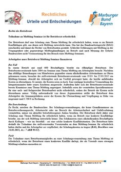 #Betriebsratsrecht: Teilnahme an Mobbing-Seminar ist für Betriebsrat erforderlich (BAG, Beschluss vom 14.01.2015, Az.: 7 ABR 95/12)
