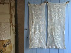 Pair of crochet lace cafe curtains window by frenchvintagedream