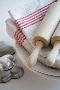 rolling pins, linens and tin molds