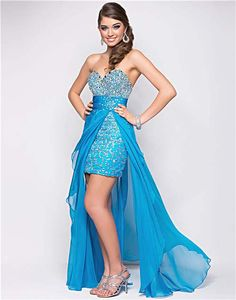 Caribbean Blue Beaded Chiffon Strapless Empire Waist Prom Dress - Unique Vintage - Cocktail, Pinup, Holiday & Prom Dresses.