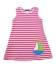 Hot Pink Sailboat Stripe A-Line Dress