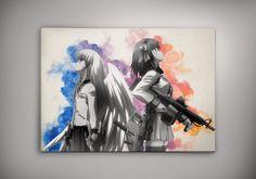 Angel Beats! Anime Manga Watercolor Print Poster Yuzuru Otonashi Yuri Nakamura Hideki Hinata