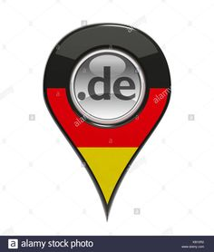 3D pin domain marker with German flag isolated - Stock Image