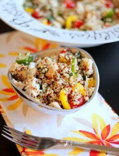 Summer Quinoa Salad with Fresh Basil and Lemon Honey Dressing