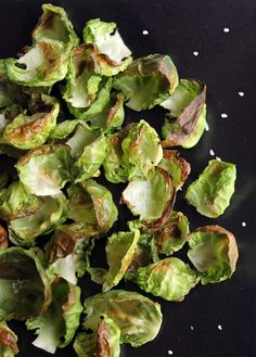 Brussels Sprouts Chip Recipe- when you get that craving for something crunchy, instead of grabbing a bag of chips, eat a few of these