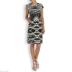 Mary Katrantzou Black White Lace Intarsia Jacquard Bridge Wool Blend Dress | eBay