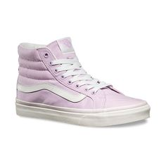 SK8-Hi Slim ($55) ❤ liked on Polyvore featuring shoes, sneakers, vans high tops, lace up sneakers, high top shoes, high top trainers and rubber shoes
