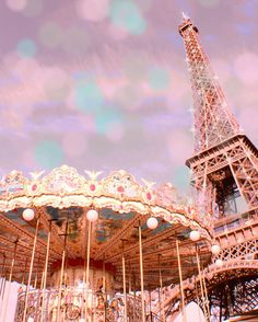 Photographie Photographie Paris Tour Eiffel, Paris carrousel, Pastel, rose Paris Print, Bokeh