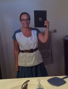 05/02...pattern is Bess Top by Imagine Gnats. Light weight denim back with a white lace covering front - made to go with same material knee length skirt made several weeks ago .