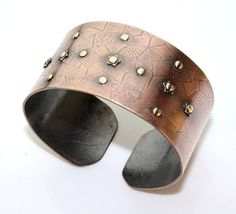 Patterned Cuff  Textured Riveted Copper  by JewelryByGaladryl, $39.00