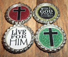 Package Deal Christian Bottle Cap Magnets 4 Pack and Christian Garland (Vacation Bible School)