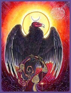 Vulture Totem painting by Sandra SanTara Traditional Vulture Tattoo, Tattoo Traditional, Animal Medicine, My Demons, Orisha, Animal Totems, Aboriginal Art, Christen, Native American Art
