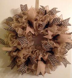 Deco mesh #burlap wreath. #chevron