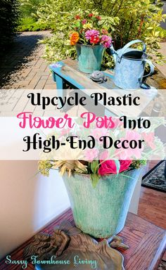 Upcycle Plastic Flower Pots Into High-End Decor - There's no better feeling of accomplishment when you can upcycle something that you might have thrown into the garbage. That's just what I was about to do with aplastic flower potI found hiding in my garage. Then, a lightbulb moment hit! Why don't I use myModern Masters Metal Effects Patina Kitand transform it into high-end decor? Wow – am I glad I did. #ModernMasters @ModernMasters #Flowerpots #DIY #Upcycle #Crafts