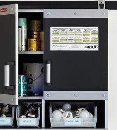 Clever Cabinet Solution: Designate a spot for collecting things you want to recycle but can't throw into your curbside bin, such as oil-based paints, batteries, and CFL bulbs. Use small bins to corral like items and use shelves to store chemicals and liquids. A wall-mounted cabinet like this one is ideal for organizing your recyclables; it also keeps them out of reach from kids and pets.